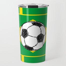 Brazil Flag Football Sketch Travel Mug
