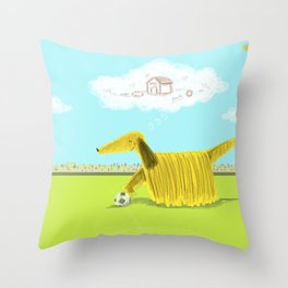 Happy Football Dog Throw Pillow