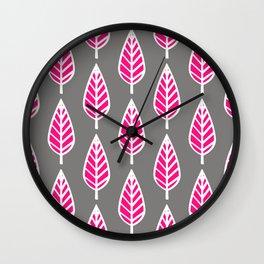 Beech Leaf Pattern, Fuchsia Pink and Silver Gray Wall Clock