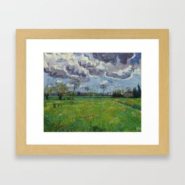 Meadow With Flowers Under a Stormy Sky Framed Art Print