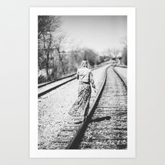downtown train. Art Print