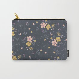 Vintage inspired whimsical floral print Carry-All Pouch