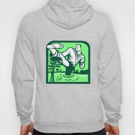 Martial Arts Fighter Kicking Cypress Tree Retro Hoody
