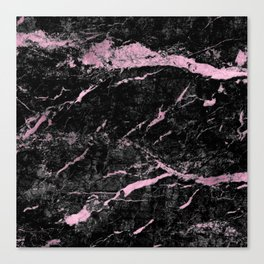 Marble Black Pink - Far Away Canvas Print