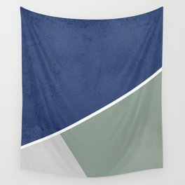 Navy Sage Gray Geometric Wall Tapestry