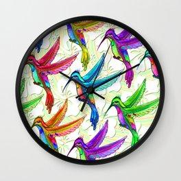 Hummingbirds Multicolors Pattern Wall Clock