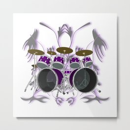 Drum Kit with Tribal Graphics Metal Print