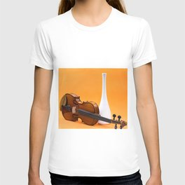 Still life with violin and white vase on an orange T-shirt