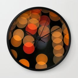 Blurred Orange Lights Wall Clock