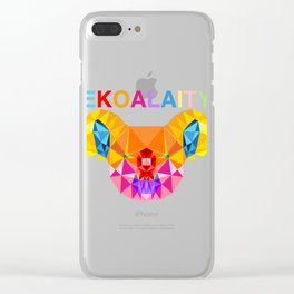 "CUTE KOALA Rainbow Flag Gay Pride T-shirt Design ""Ekoalaity"" Rainbow Flag Koala EKOALA-TY Pun  Clear iPhone Case"