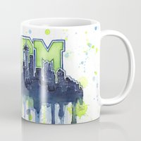 seahawks Mugs featuring Seattle 12th Man Seahawks Painting Legion of Boom Art by Olechka