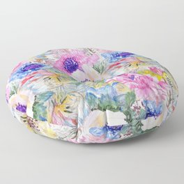Abstract floral sketch watercolor hand paint. Floor Pillow