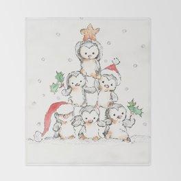 Oh Penguin Tree Throw Blanket