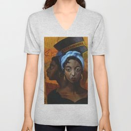 Classical African American Landscape 'Secret History of the Black Race' by Lois Jones Unisex V-Neck