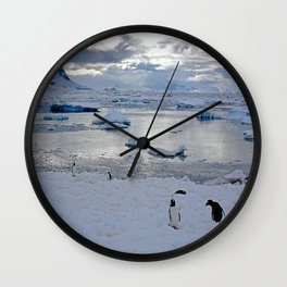 Gentoo Penguins on Ice Wall Clock