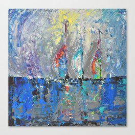Three Sailboats - abstract acrylic painting sea landscape blue colors Canvas Print