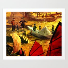 Paper boat in the harbour of Shangai. Illustration for kids Art Print