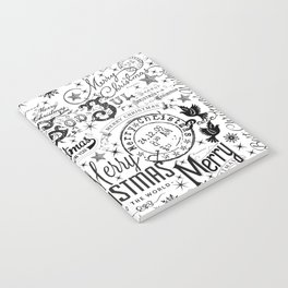 Black and White Christmas Typography Design Notebook