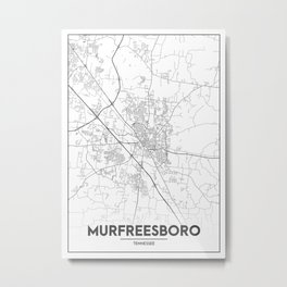 Minimal City Maps - Map Of Murfreesboro, Tennessee, United States Metal Print