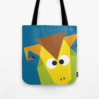 ram Tote Bags featuring Ram by Fairytale ink