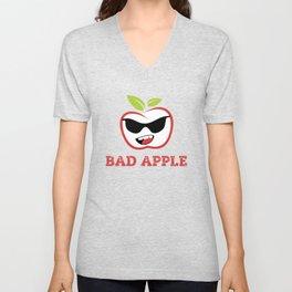Bad Apple in Black Sunglasses with Attitude Unisex V-Neck