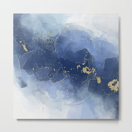 Blue and Gold Alcohol Ink Metal Print