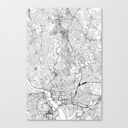 Washington D.C. White Map Canvas Print