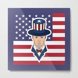 Uncle Sam - patriotic cartoon Metal Print