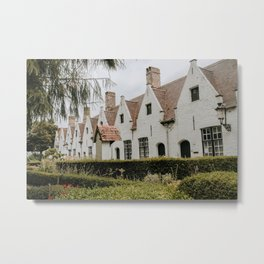 White houses of Beguinage in Bruges  Metal Print