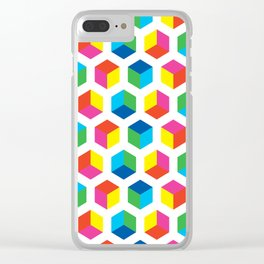 Geometric Pattern #90 (colorful cubes) Clear iPhone Case
