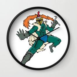 Knight Wield Fiery Sword Cartoon Wall Clock