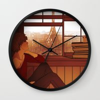 enjolras Wall Clocks featuring Enjolras by rdjpwns