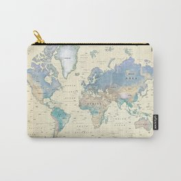 Antique Inspired World Map [shaded relief] Carry-All Pouch