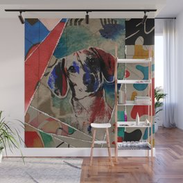 Dachshund Abstract mixed media digital art collage Wall Mural