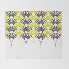 brown and lime art deco inspired fan pattern Throw Blanket