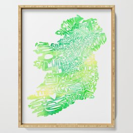 Typographic Ireland - Green Watercolor map Serving Tray