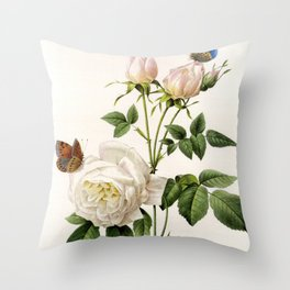 Vintage botanical illustration by P.J. Redoute. White rose flowers and butterflies. Throw Pillow