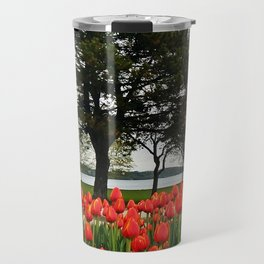 Tulips and the Trees by the Lake Travel Mug