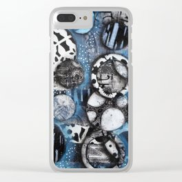 The Mick J - Black and White Circles Clear iPhone Case
