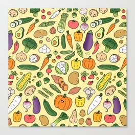 Veggie Friends Doodle Canvas Print