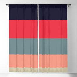 Candy Floss Colorful Color Block Minimalist Stripes Pattern Blackout Curtain