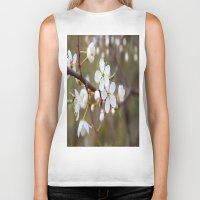 cherry blossom Biker Tanks featuring Cherry Blossom by Kristina Haritonova
