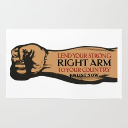 Lend Your Strong Right Arm -- Enlist Now Rug