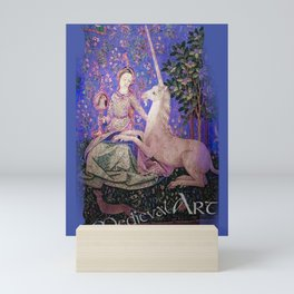 Medieval Art - Lady and the Unicorn in Intense Blue Mini Art Print