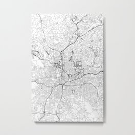 Atlanta White Map Metal Print