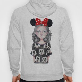 Minnie Mouse Inspired Style Girl Drawing Hoody