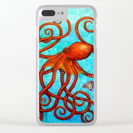 Distracted - Octopus and fish Clear iPhone Case