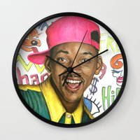 fresh prince Wall Clocks featuring Fresh Prince of Bel Air - Will Smith by Heather Buchanan