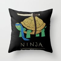 ninja turtle Throw Pillows featuring ninja - blue by Louis Roskosch