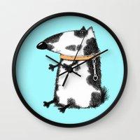 dog Wall Clocks featuring DOG by Кaterina Кalinich